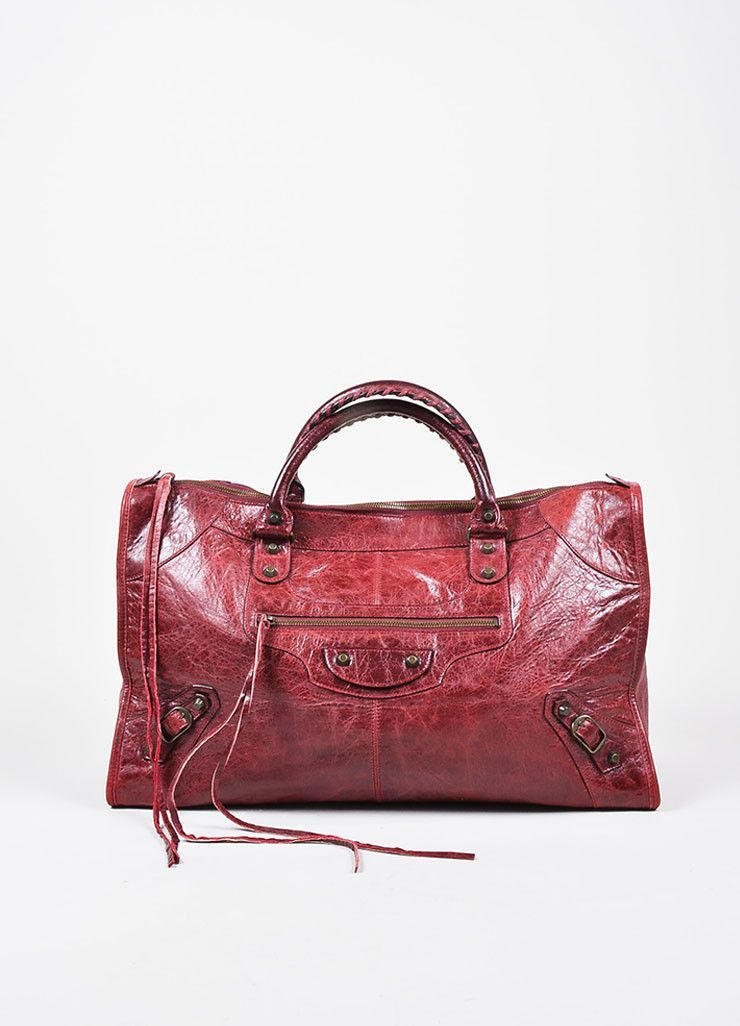 "Balenciaga Maroon Red Leather ""Classic Work"" Satchel Tote Bag"