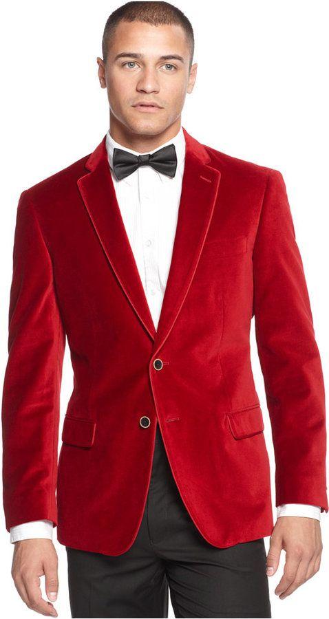 Christmas blazer for men - looking great in Sean John Solid Ribbon-Trim Velvet  Blazer 671ff2a82