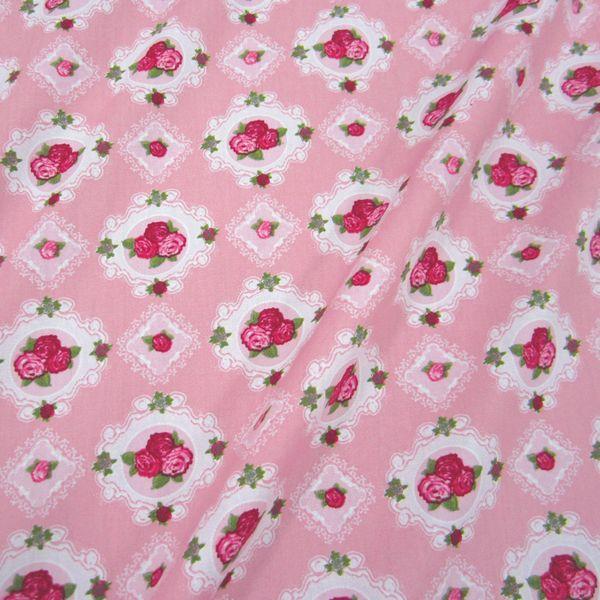 Stoff Baumwolle Stenzo Rosa Pink Rosen Im Rahmen Pinke Rosen Stoffe Zum Nahen Stoff