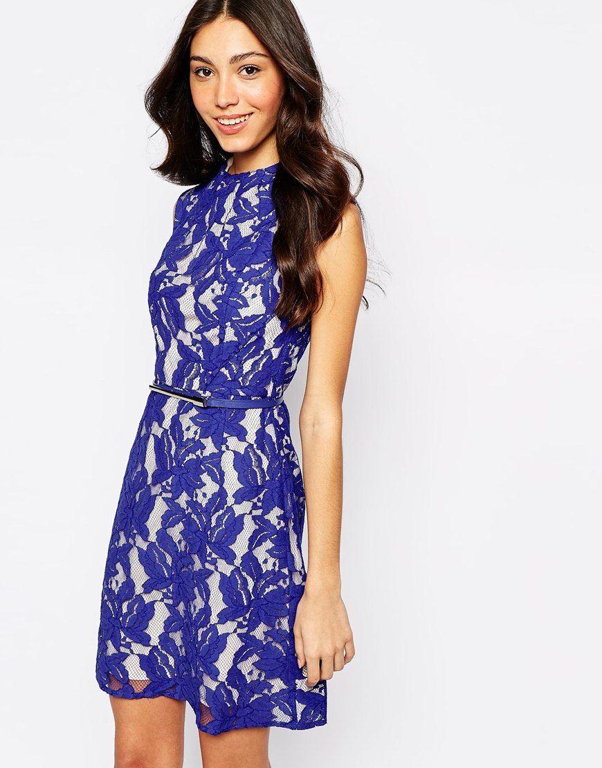 Oasis lace dress blue