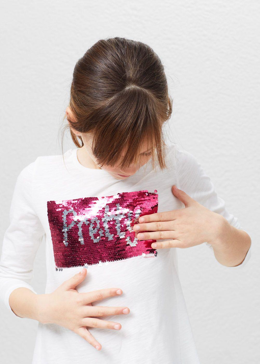 642f584fb0 T-shirt de lantejoulas reversíveis - Menina em 2019
