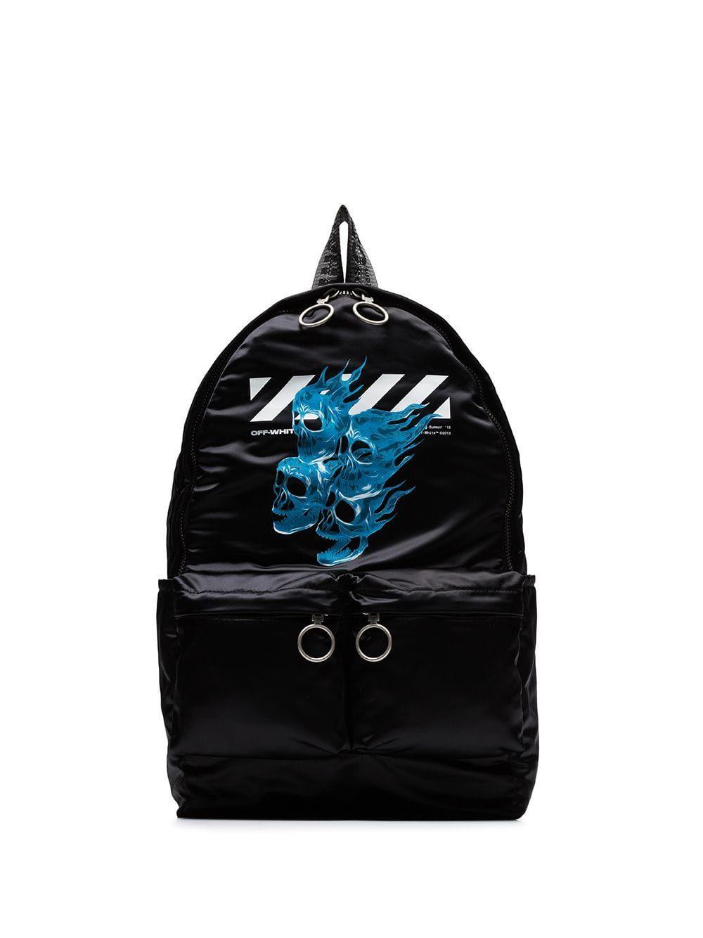115635209 OFF-WHITE OFF-WHITE BLACK AND BLUE SKULLS PRINT BACKPACK. #off-white #bags  #backpacks