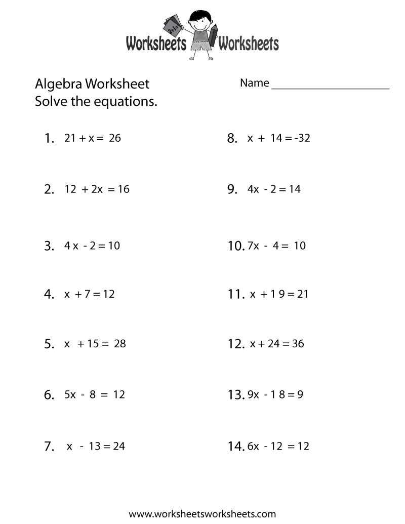 simple algebra worksheet printable | math worksheets | algebra