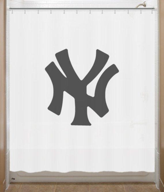 Baseball Shower Curtain New York Yankees Bathroom Decor Bath Kids