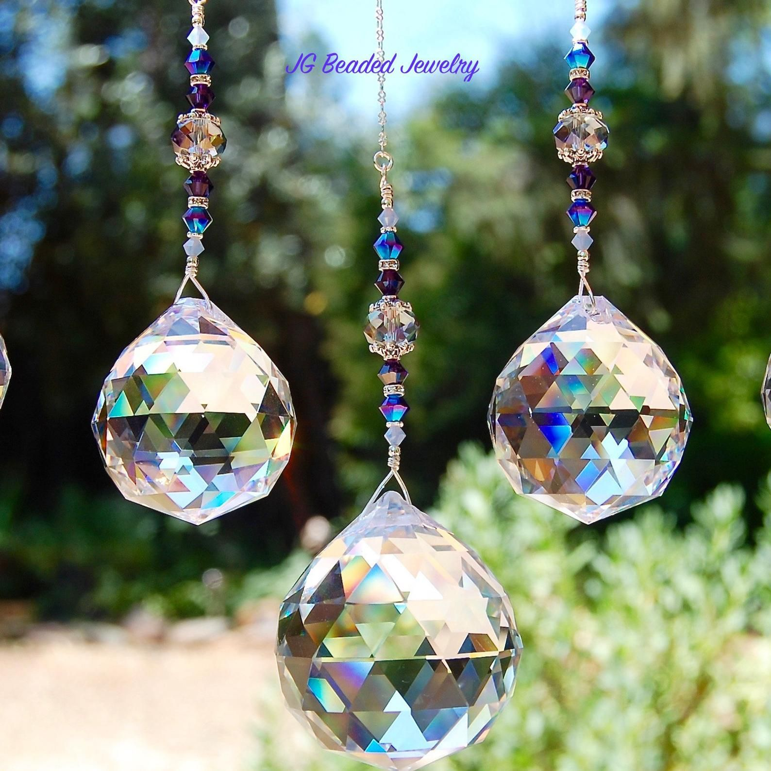 Hanging Prism Crystal Suncatcher Home Decor Rearview Mirror Ceiling Light Pull Fan Pull Car Charm 3 Sizes In 20mm 30mm 40mm Crystal Suncatchers Suncatchers Crystal Prisms