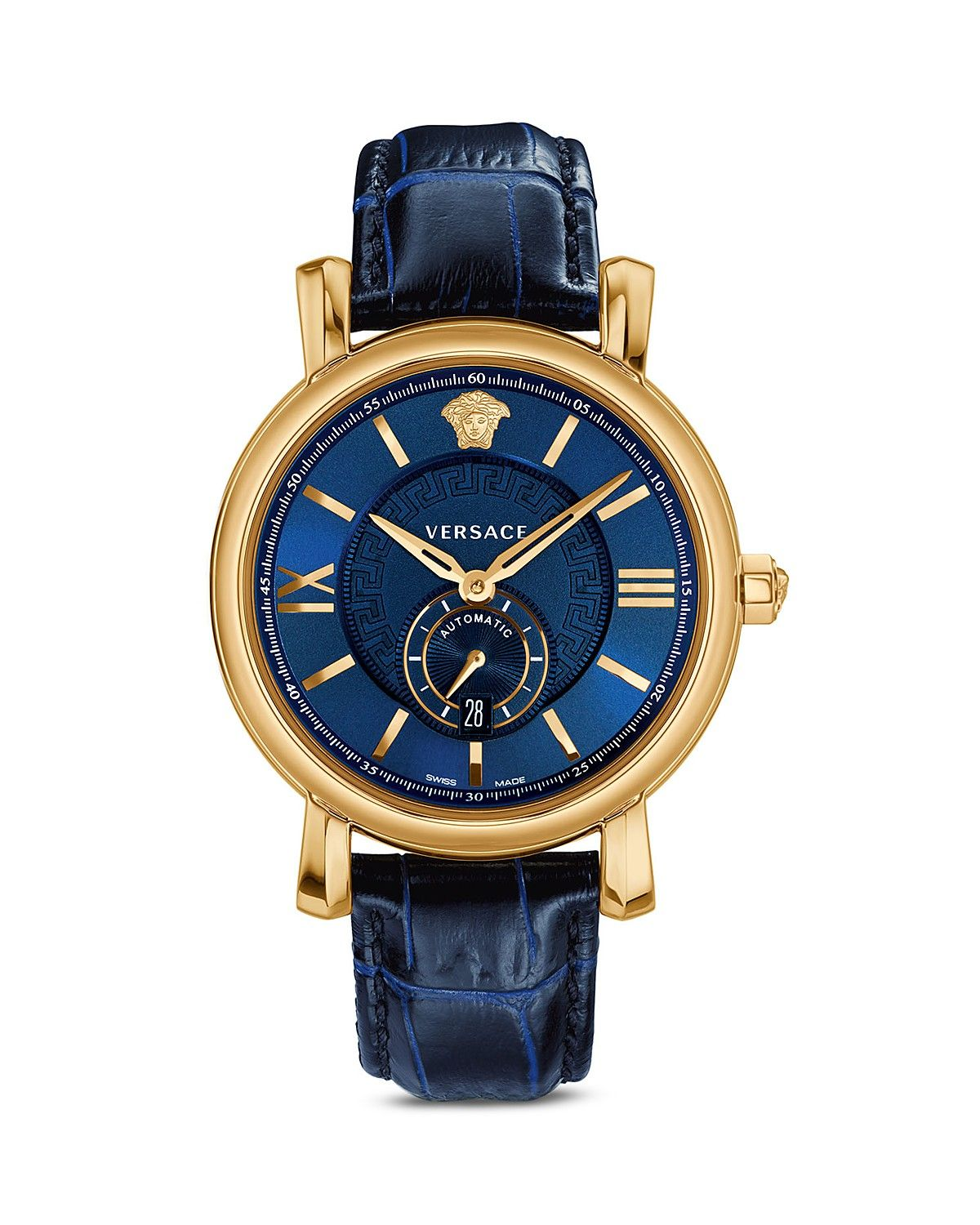 984ea830a Versace Urban Gent Ion-Plated Rose Gold Automatic Watch with Blue Alligator  Band, 44mm | Bloomingdale's
