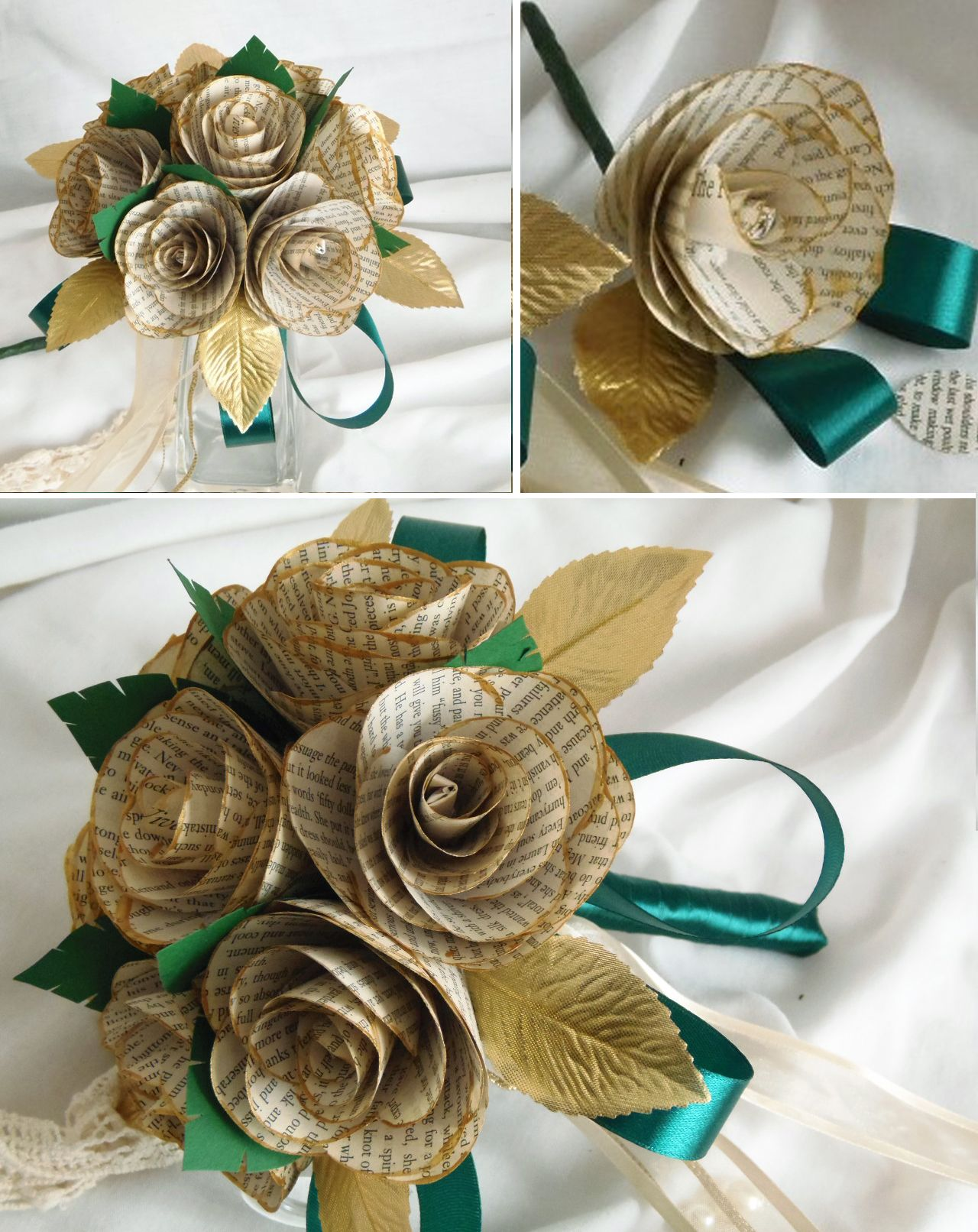 Wedding decorations pics october 2018 Green u Gold Painted Book Page Bride Bouquet u Buttonhole  Book