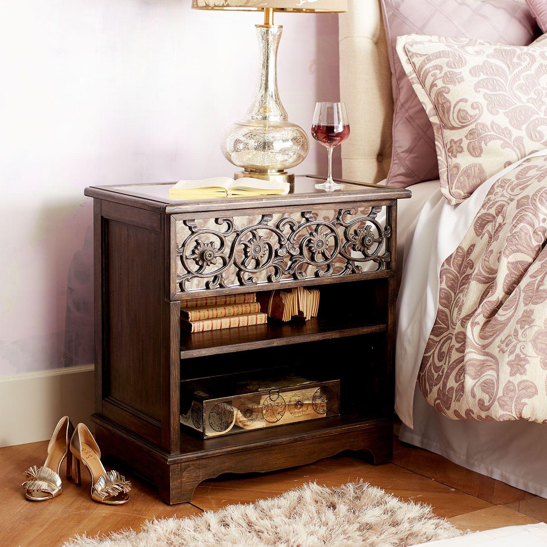 Adeline Mirrored Nightstand | Mirrored nightstand, Bedroom ...