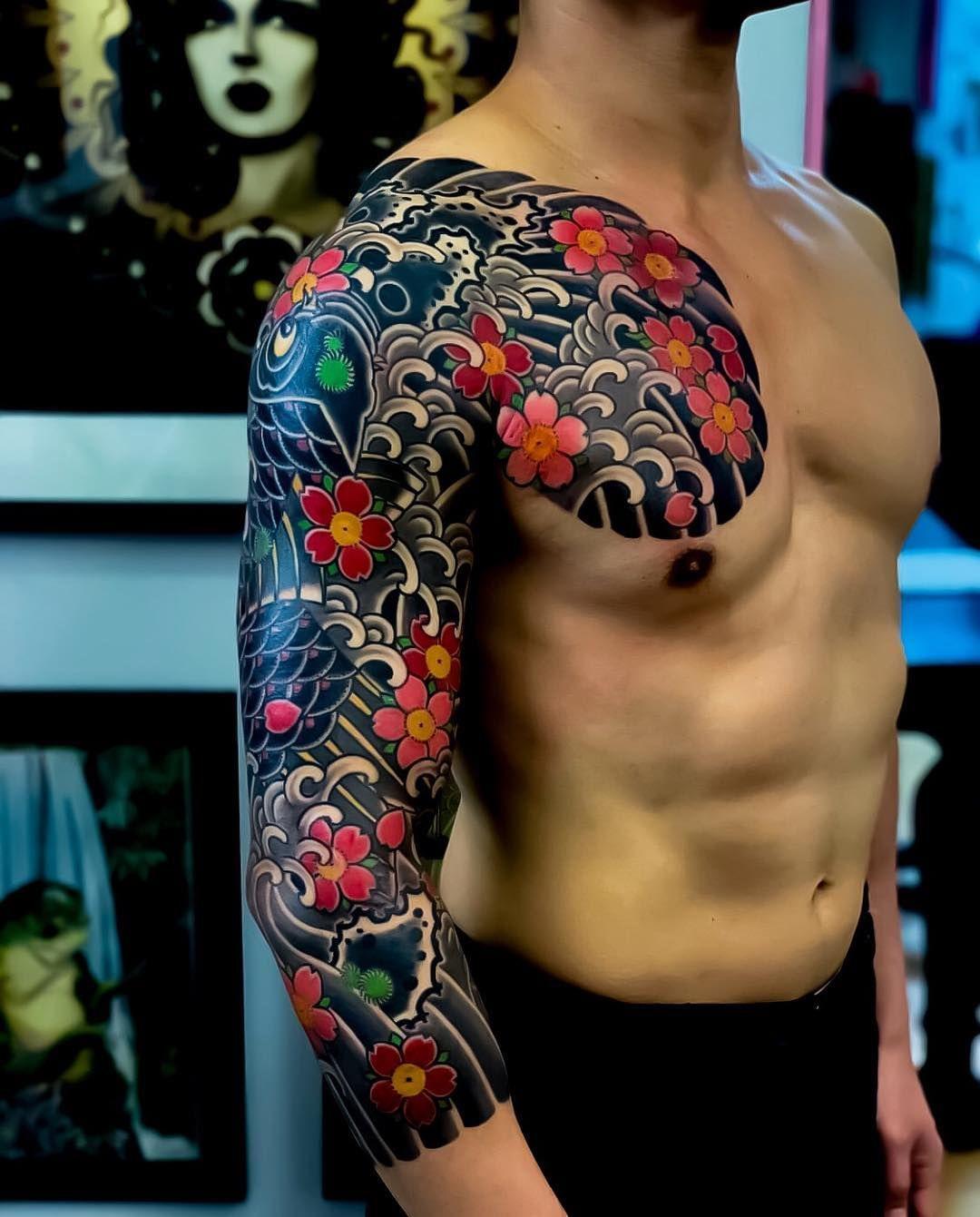 La Imagen Puede Contener Una Persona Primer Plano Japanese Sleeve Tattoos Koi Tattoo Sleeve Japanese Tattoo