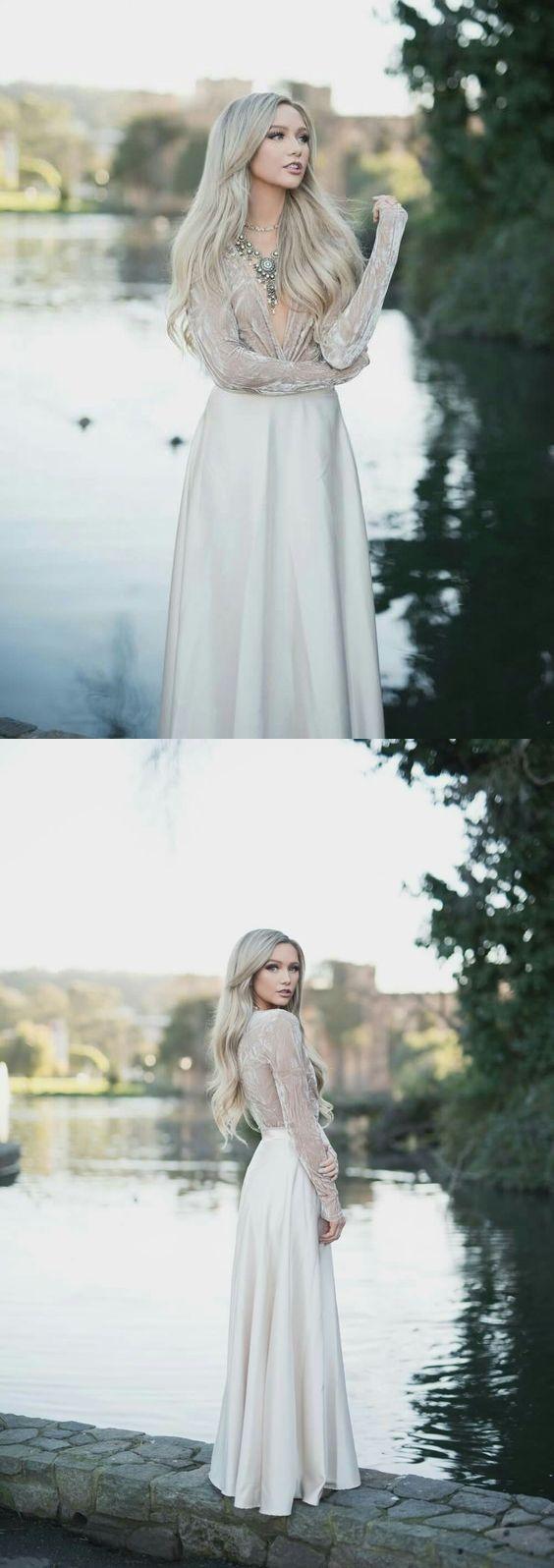 Long sleeve prom dresses deep v a line velvet top sexy prom dress