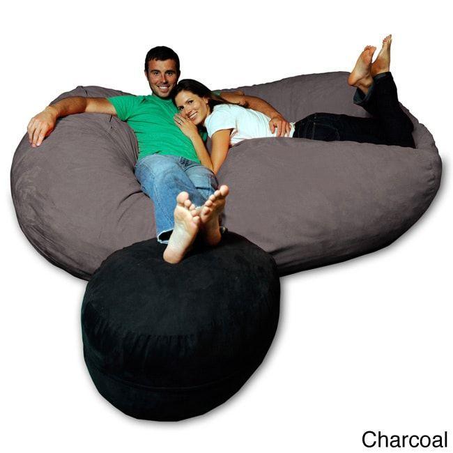 Awe Inspiring Soft Memory Foam Microsuede 7 5 Foot Beanbag Chair Lounger Uwap Interior Chair Design Uwaporg