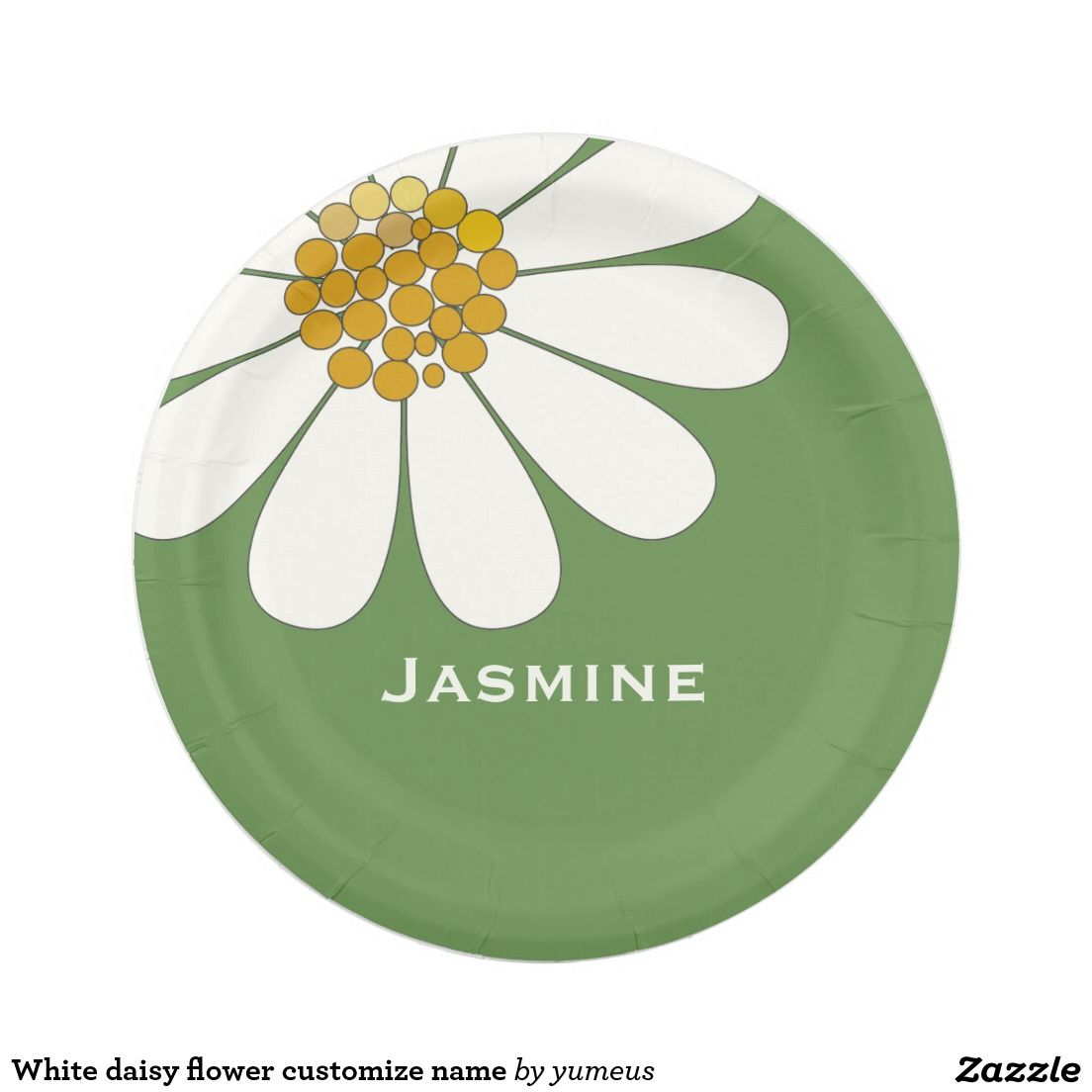 White daisy flower customize name paper plate | For the Home | Pinterest