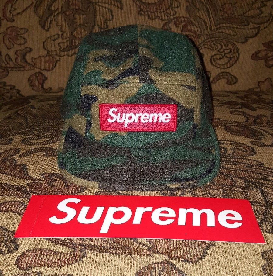 d6730bfa1f9a4 Supreme Wool Camo Box Logo patch 5 panel Camp cap in Green w  Red BOGO  sticker  Supreme  5PanelCampcap