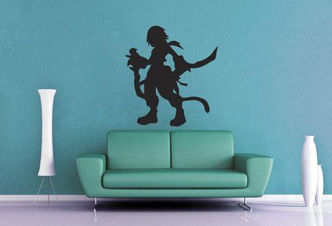zidane silhouette - final fantasy wall decal   geekerymade
