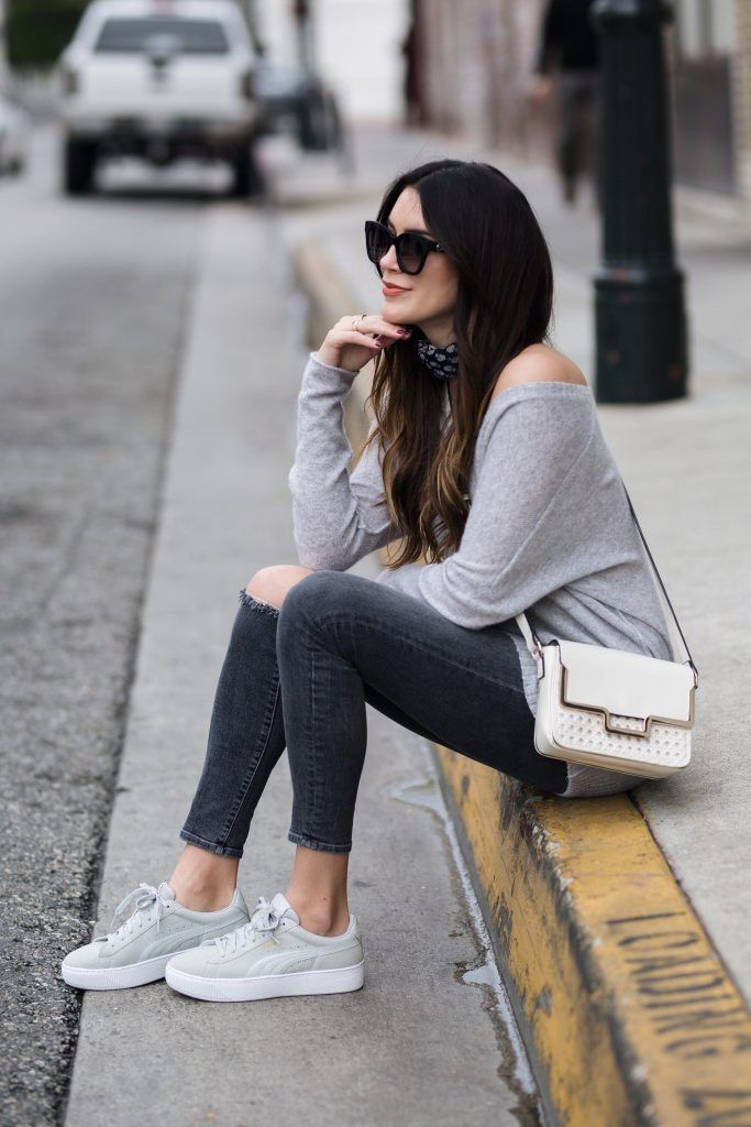 Grey sneakers outfit