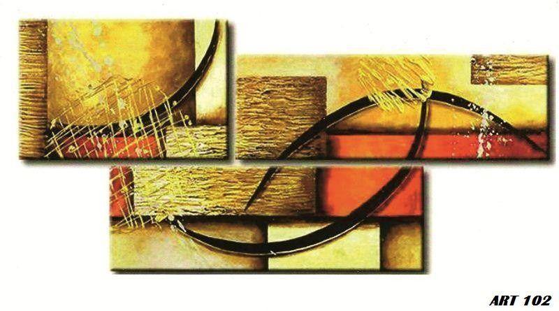 Cuadros Tripticos Abstractos Modernos Con Relieve Y Textura