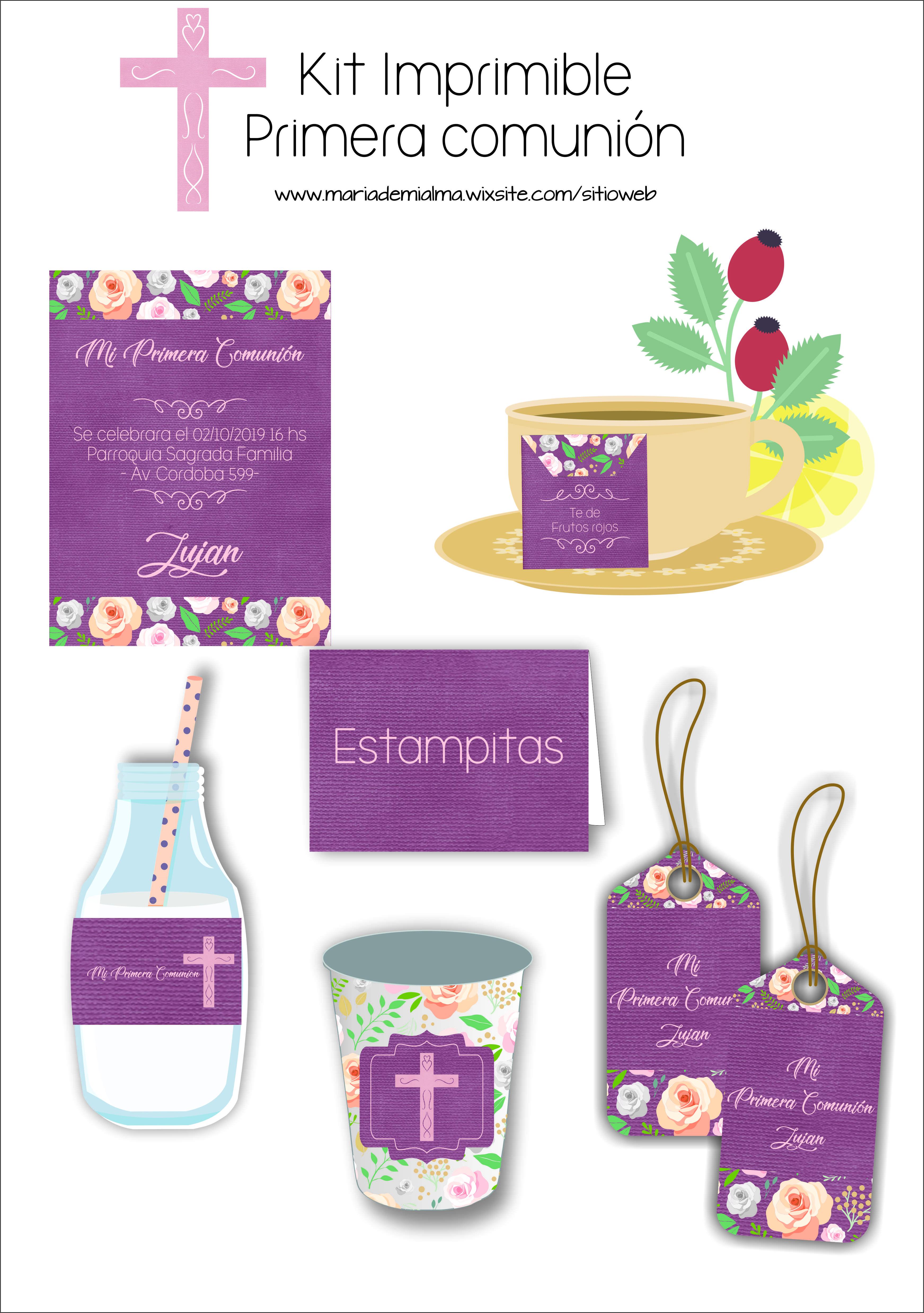 Kit Imprimible Comunion Purpura Con Rosas Kits Imprimibles Kits Imprimibles Para Cumpleanos Imprimibles