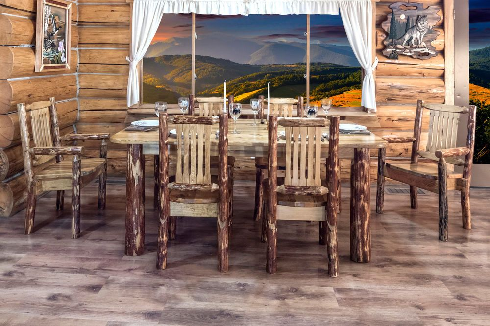 Rustic Log Dining Room Set Kitchen Table Chairs Beautiful Amish