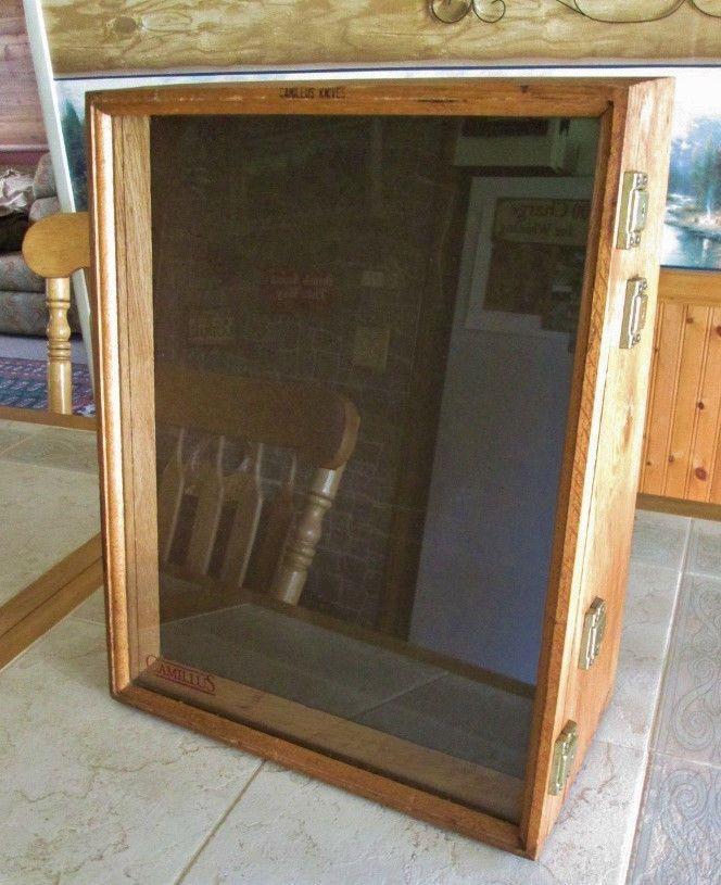 Vintage Advertising Camillus Knife Store Counter Oak Wood Display