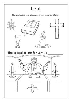 A simple worksheet showing the symbols of Lent | Catholic kids ...