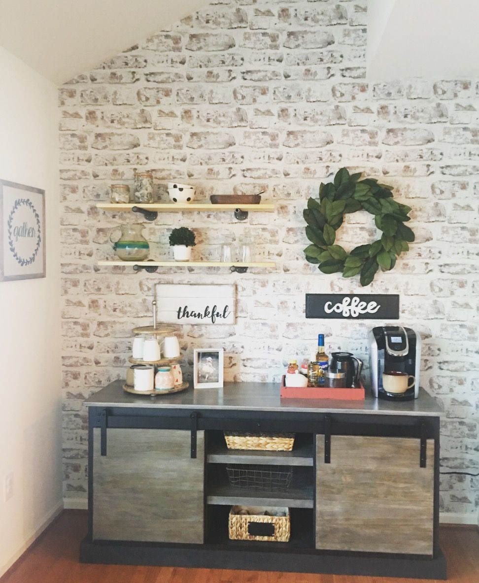 Diy Coffee Bar With Whitewashed Brick Wallpaper Coffeebar