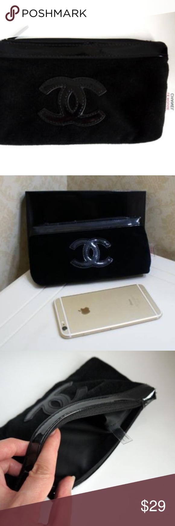 Chanel Beauty Makeup Black Velvet Bag Wallet Velvet bag