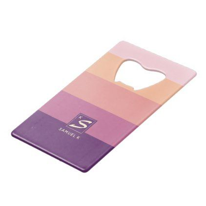 Sunset Color Palette Stripe Monogram Credit Card Bottle Opener - simple clear clean design style unique diy