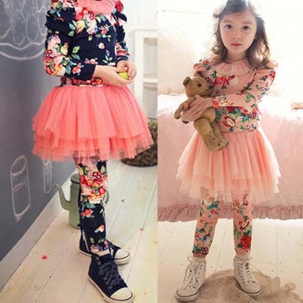 Click To Buy Kids Baby Girls Culottes Floral Leggings Tutu Skirts Tulle