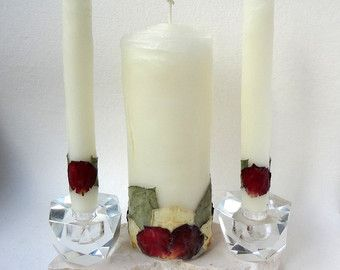 Elegant Wedding Unity Candle Set Decor Unique Candles Gift For Pure Beeswax Rose Handmade Usd By