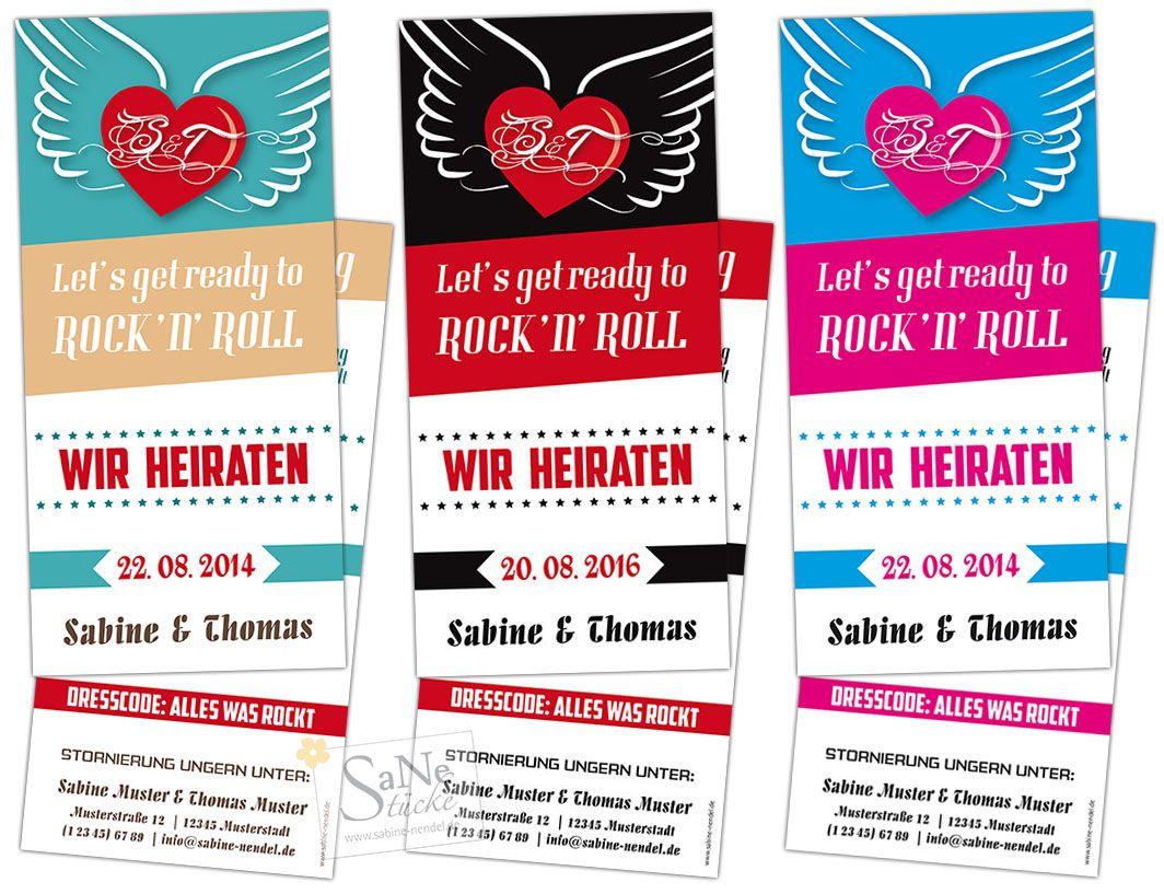 Let s ready to Rock n Roll Einladungskarte zur Hochzeit für
