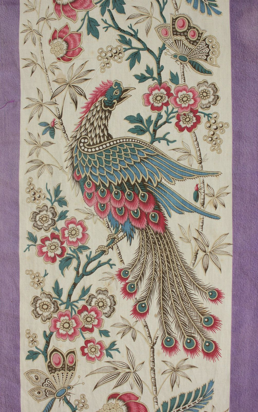 Antique Vtg French Indienne Batik Floral Bird Cotton Fabric ~ Blue Red Green ~