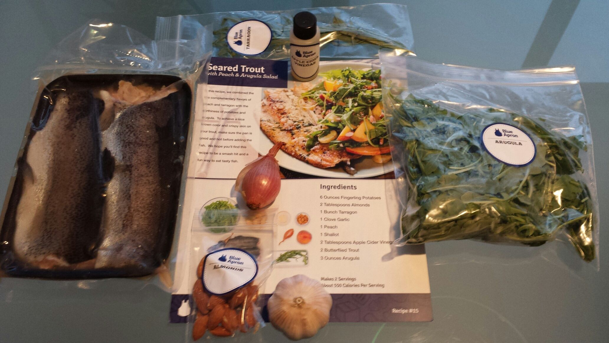 Even I became a gourmet cook with all the ingredients and recipe with diagrams from Blue Apron Foods, this for seared trout with peach and arugula   www.miamicurated.com