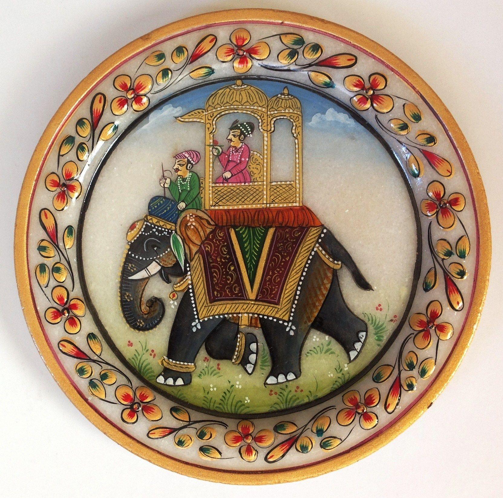 Indian Maharaja 5 Marble Plate Art Handmade Floral