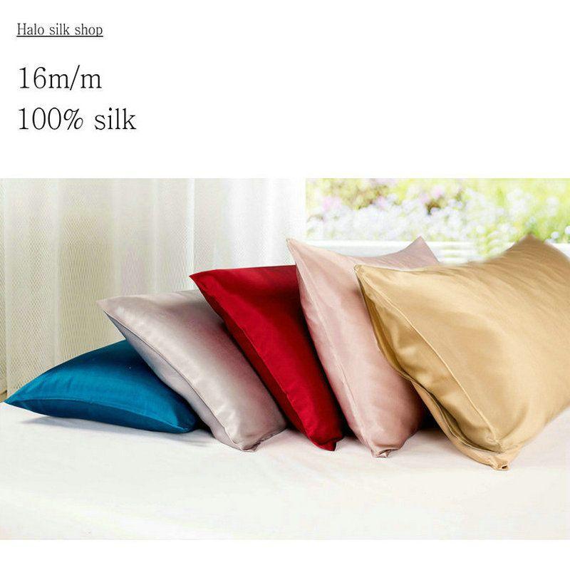Silk Vs Satin Pillowcase 16Mm Envelope Style Double Face Silk Pillowcase Satin Pillow Cover