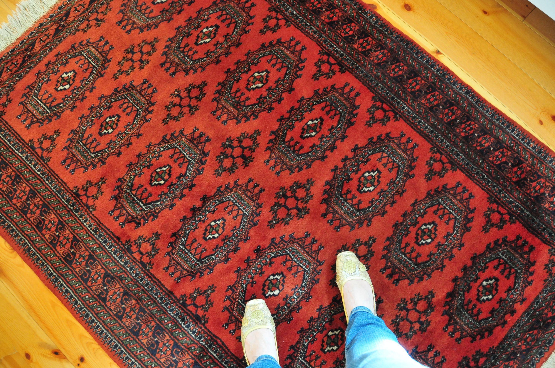 Vintage Red Turkoman Bokhara Rug