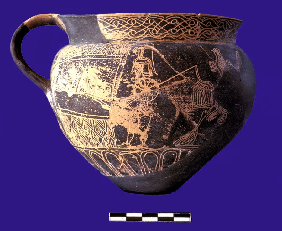 Greek cup with inscribed decoration  ca. 630-600 B.C.