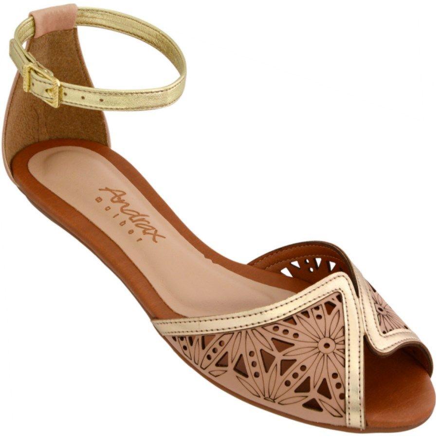 b3e36ebf2 Sandália Andrax Rasteira Feminina Bege / Dourada | Shoes | Shoes ...