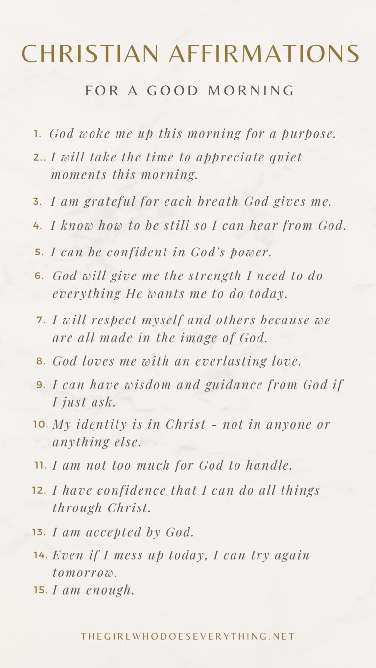 Christian Affirmations for a Good Morning - The Girl Who Does Everything