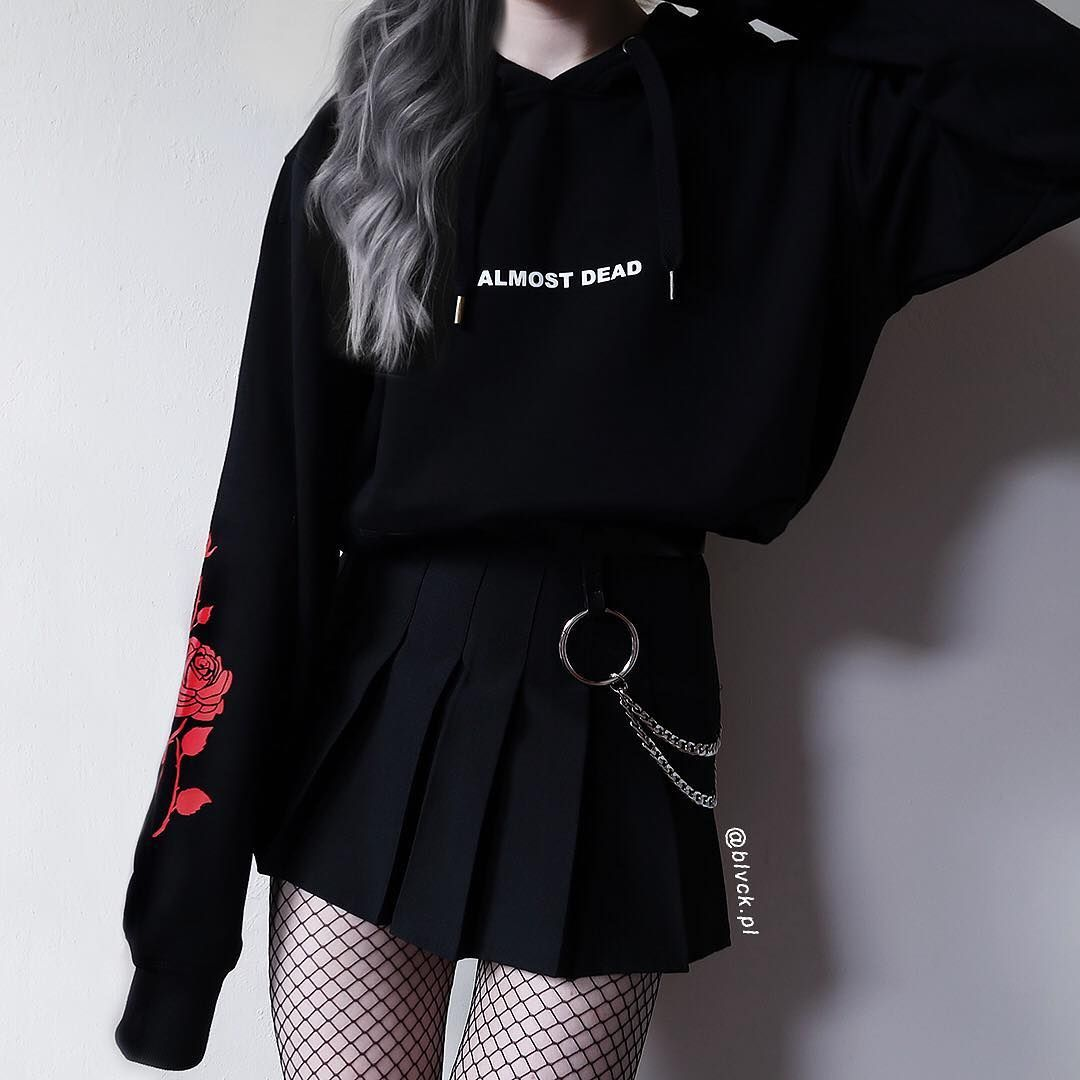 Almost Dead Hoodie Aesthetic Clothing Aesthetic Hoodie Aesthetic Shirt Tumblr Hoodie Tumblr Clothing Grunge Hoodie Roses In 2020 Bad Girl Outfits Edgy Outfits Aesthetic Grunge Outfit