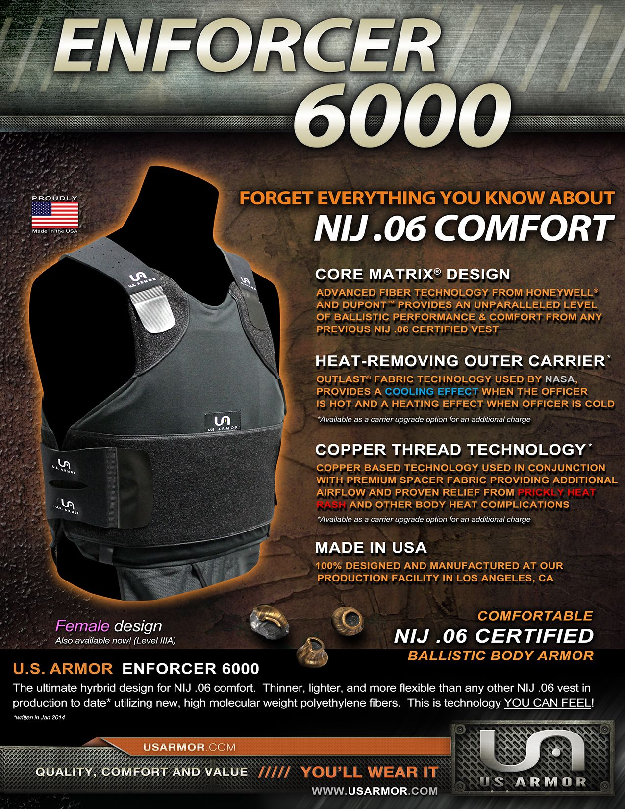 U S Armor Enforcer 6000 Front Custom Fit Body Armor You