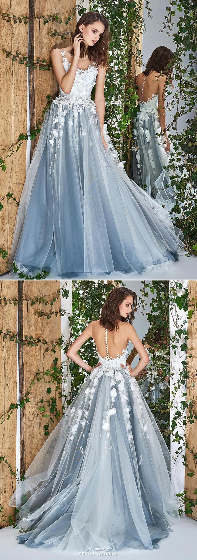 This blue gown from papilio featuring beautiful floral embroideries