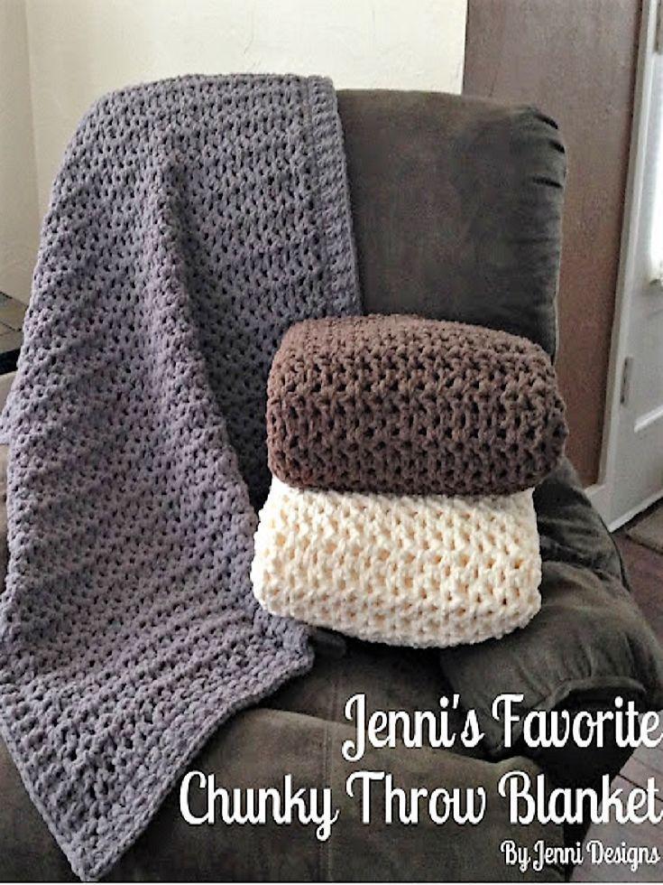 Free Crochet Pattern: Jenni\'s Favorite Chunky Throw Blanket   Decken ...