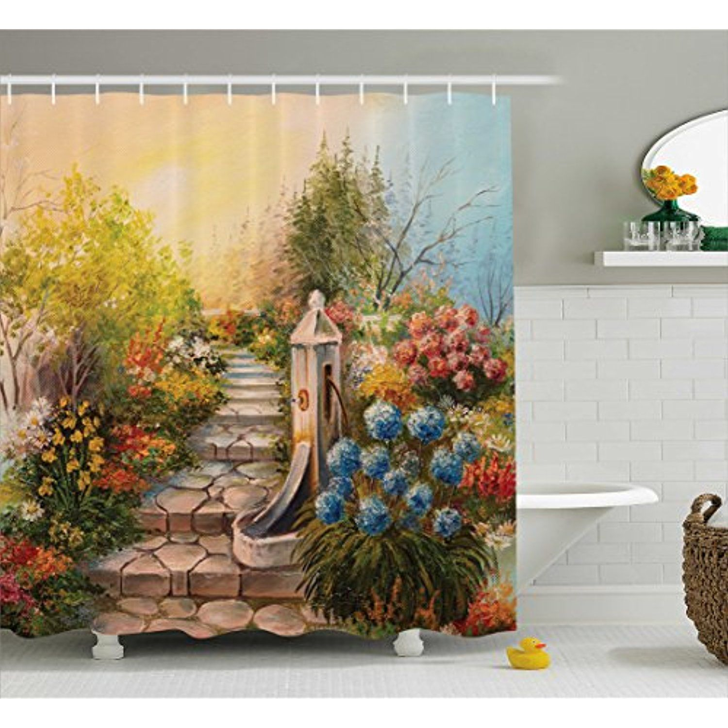 Flower Shower Curtain by Lunarable, Opium Poppy Field and Beautiful ...