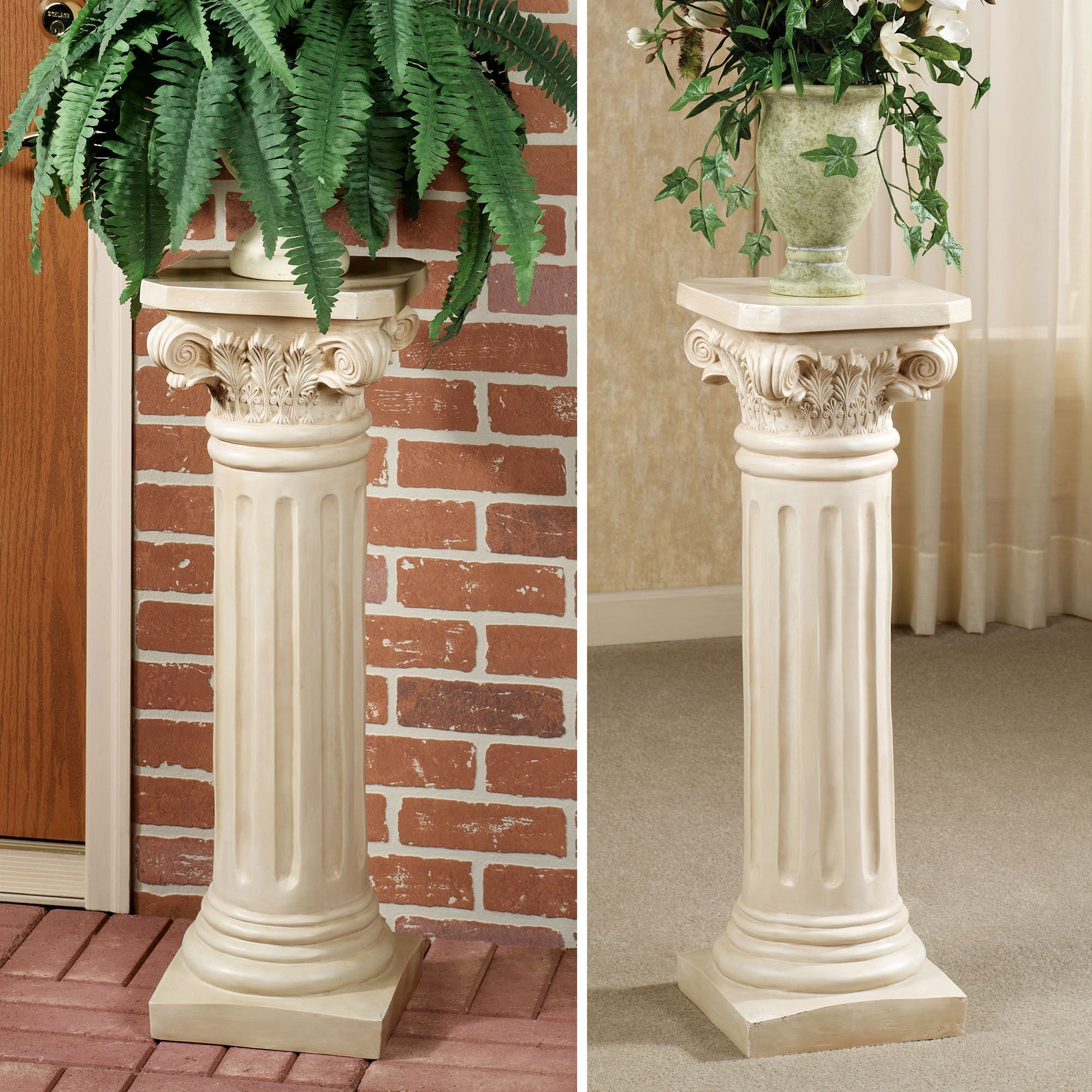 White Pedestal Plant Stands Classic Roman Column Pedestal Ideas For The House