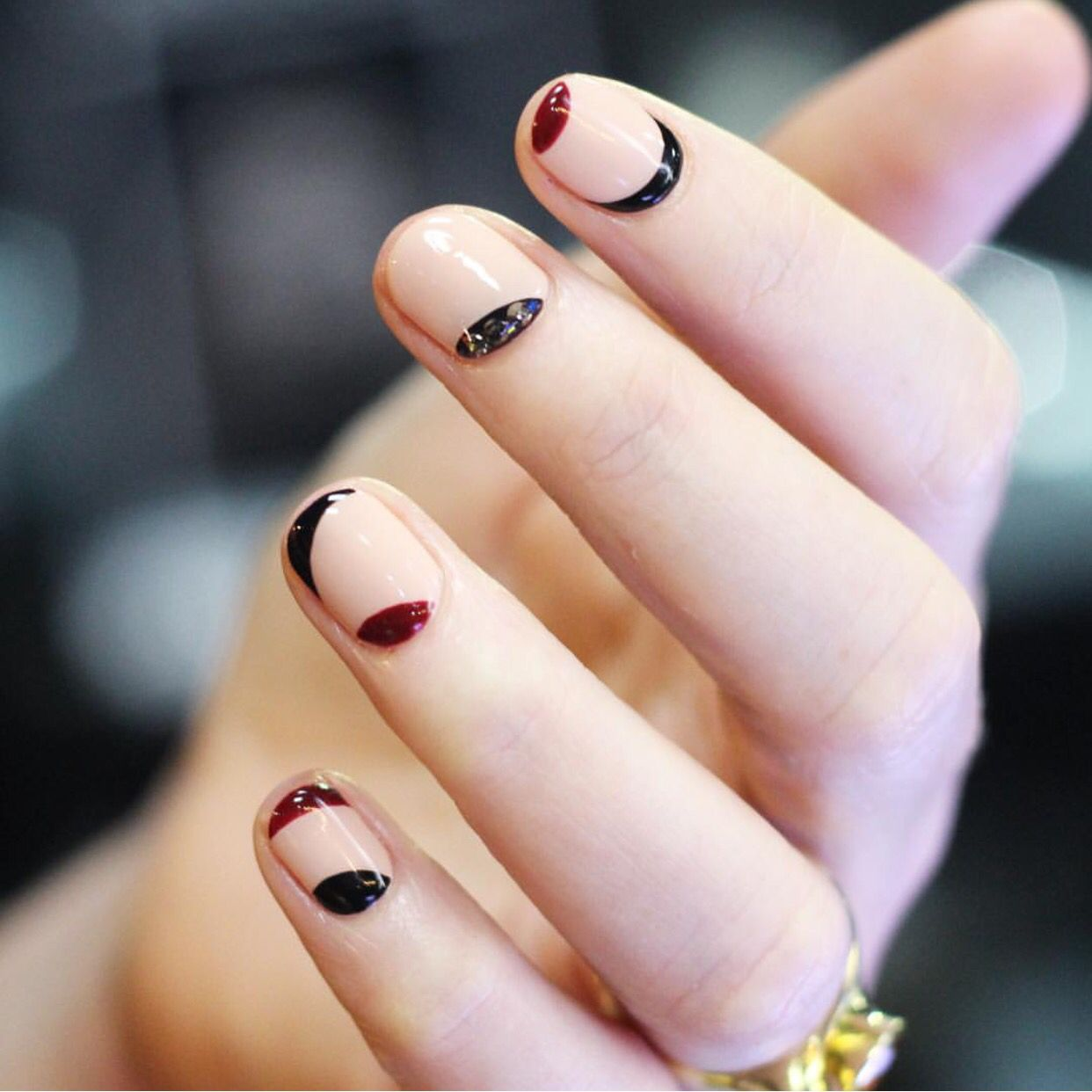 Simple Korean Nail Art Idea