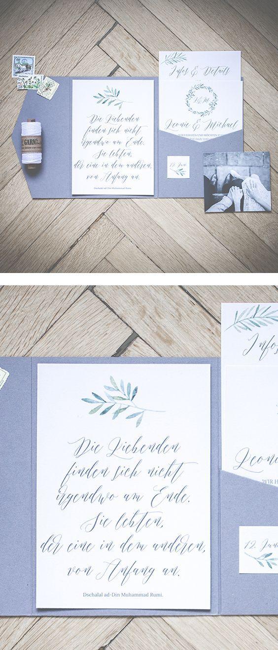 Karte Trauung | Pinterest | Hochzeitseinladung, Moderne  Hochzeitseinladungen Und Blätter
