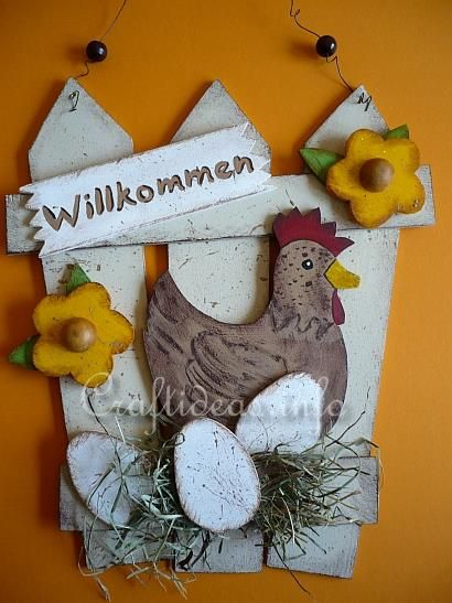 Spring Wood Crafts - Country Door Sign with Hen and Eggs