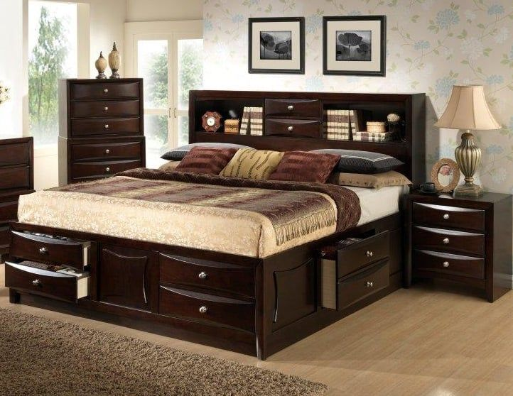 Large Double Drawer Storage Bed With Bookcase Headboard Available