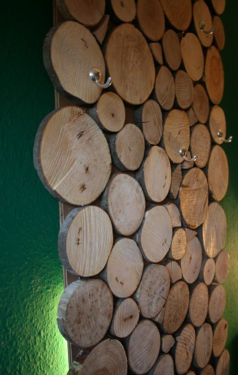 Attraktiv Coole Gaderrobe Aus Holzscheiben, Ganz Einfach Zum Selber Bauen!  #Doityourself #Garderobe #