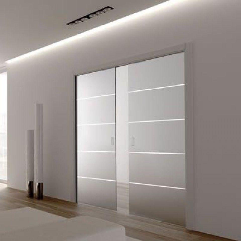 Eclisse Line Patterned Glass Sliding Pocket Door System Double